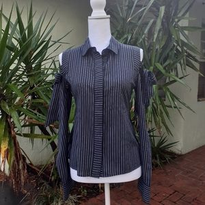Cold Shoulder Button Down Top Tailored